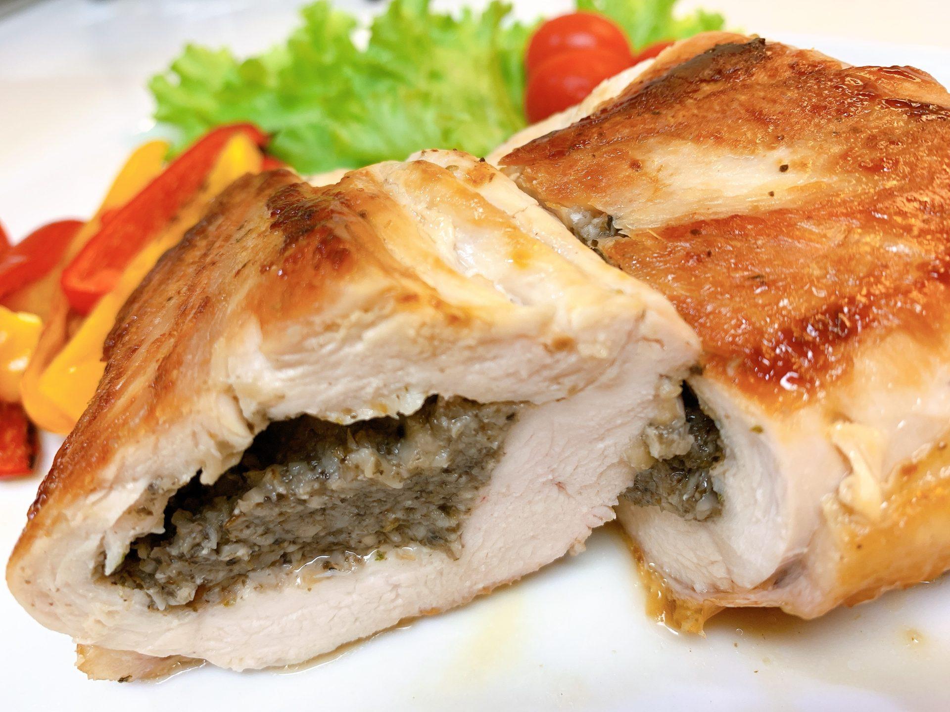 鶏胸肉のきのこペースト包み